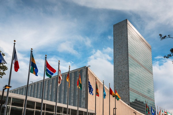 NEW YORK USA - Sep 27 2015: 70th session of UN General Assembly. United Nations Building in New York is the headquarters of the United Nations organization.